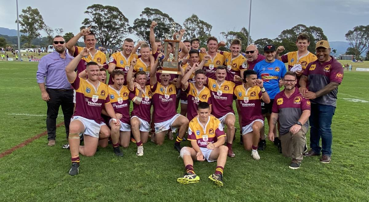 The victorious Shellharbour Sharks under 18s side on Saturday at Centenary Field. Photo: David Hall