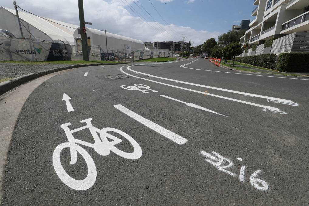The Smith Street pop-up cycleway is due to open shortly. Picture: Robert Peet
