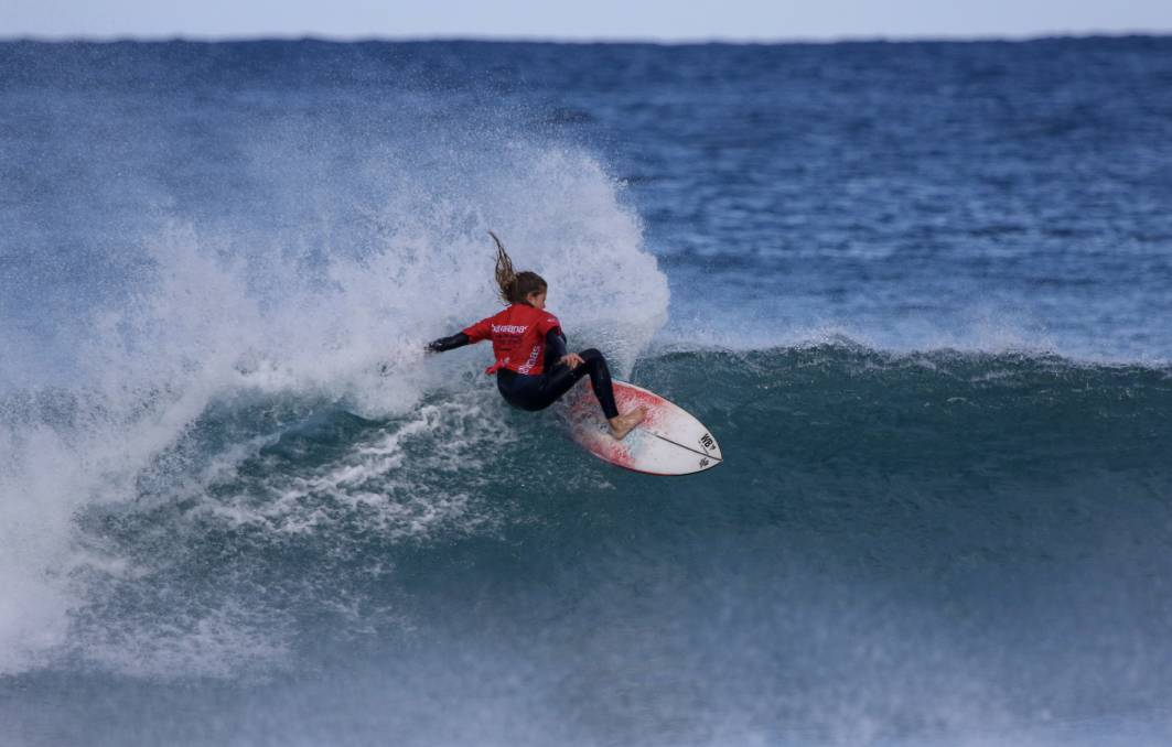 Gerringong's Lucy Darragh in action at the NSW Grommet Titles on Sunday. Picture: Ethan Smith/Surfing NSW