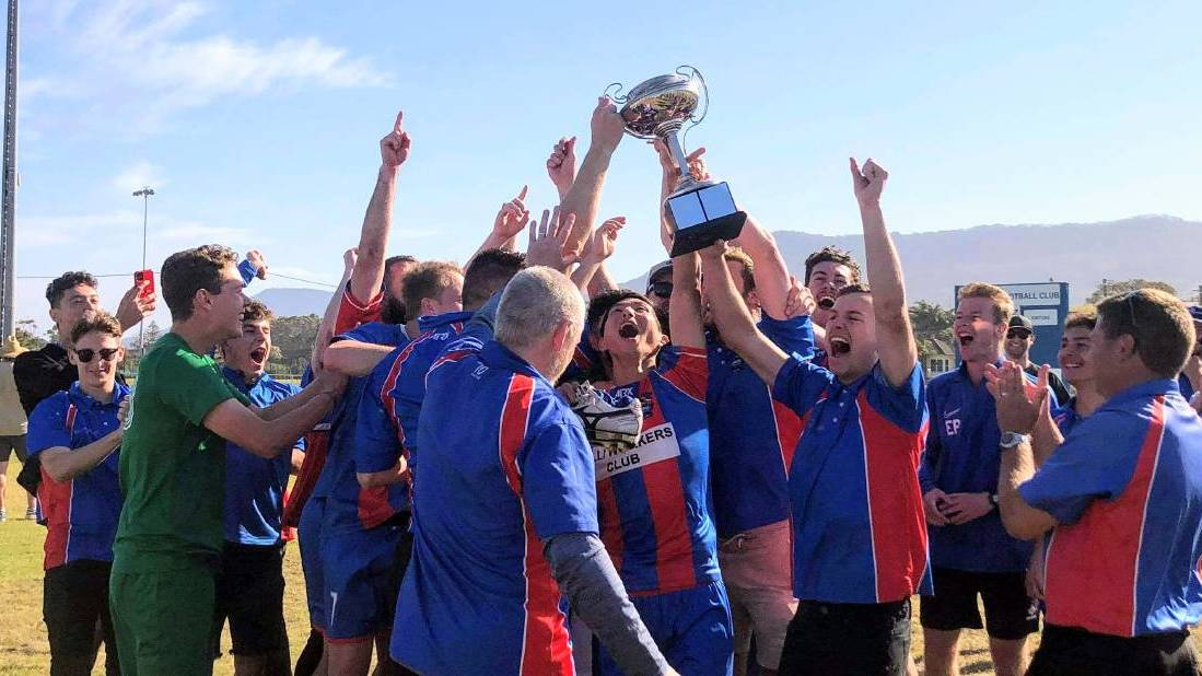 The Sharks celebrate after winning the Illawarra Premier League premiers trophy on Sunday. Picture: Nic Wilson