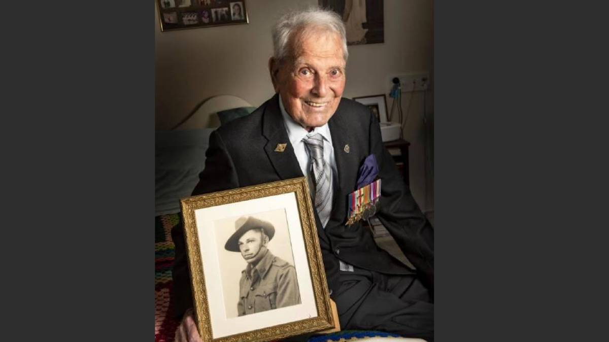 Jack Nie, who has just turned 100 and as he was in World War II, when he served at Tobruk.