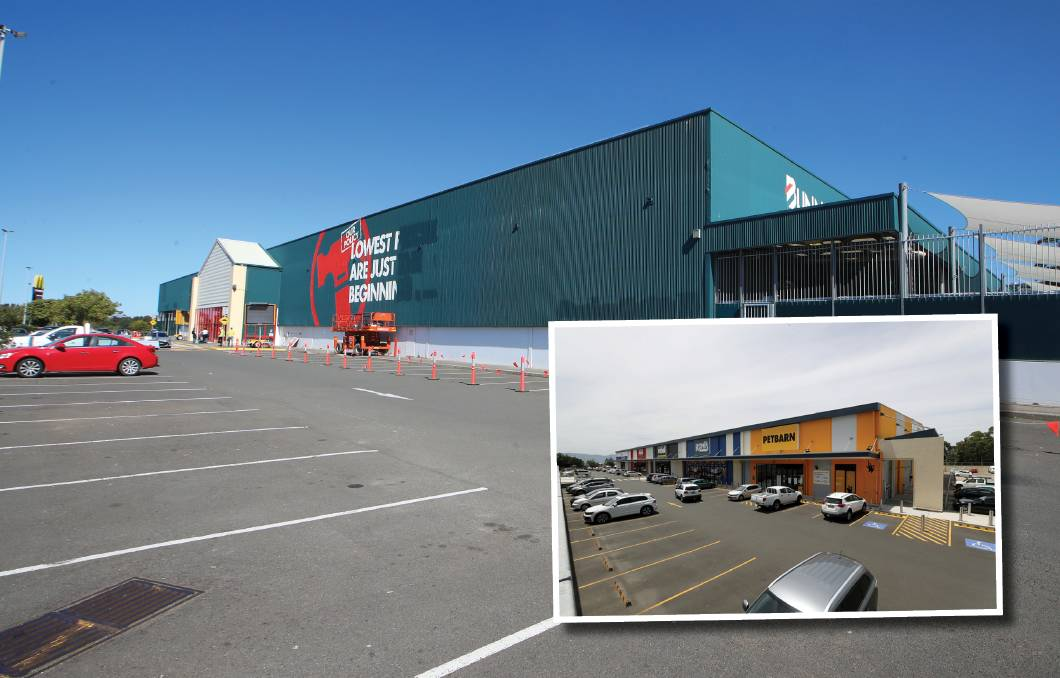 More retail: The proposal for the former Warrawong site is similar to the old Shellharbour Bunnings (inset). Picture: Robert Peet.