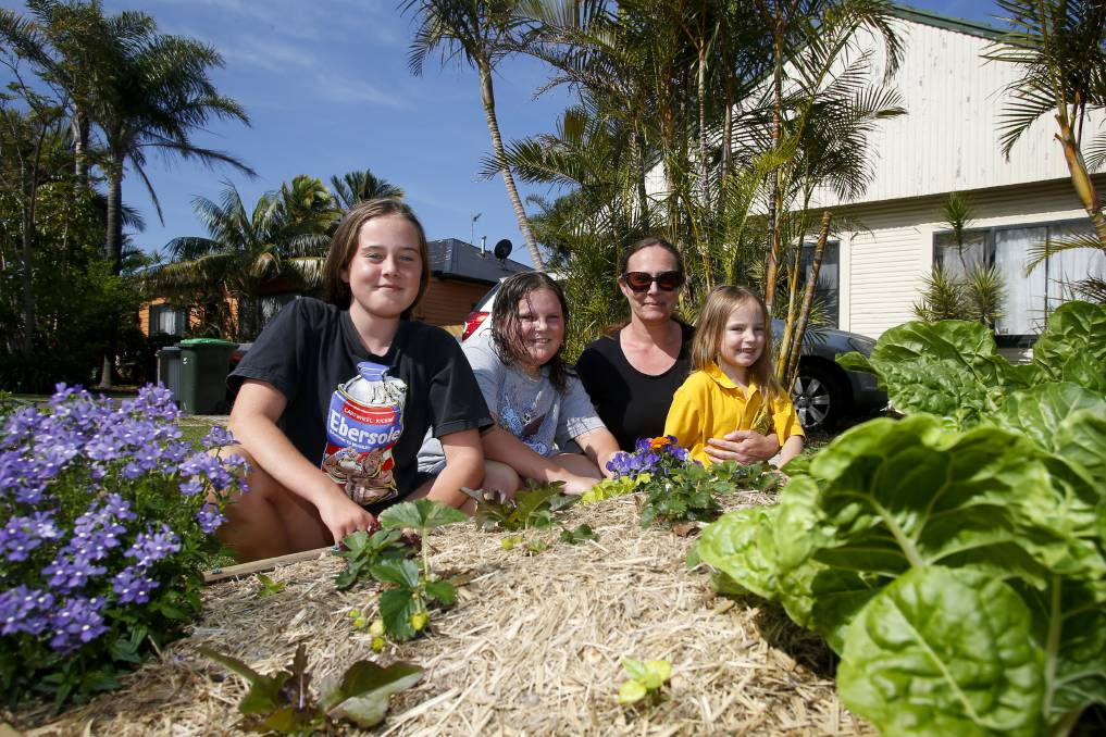 On the verge: Bellambi's Kristy Lee Hammond, with her daughters Macy-Lou, Leni-Mai and Charlee, has installed a nature strip veggie garden to help connect her neighbours. Picture: Anna Warr.
