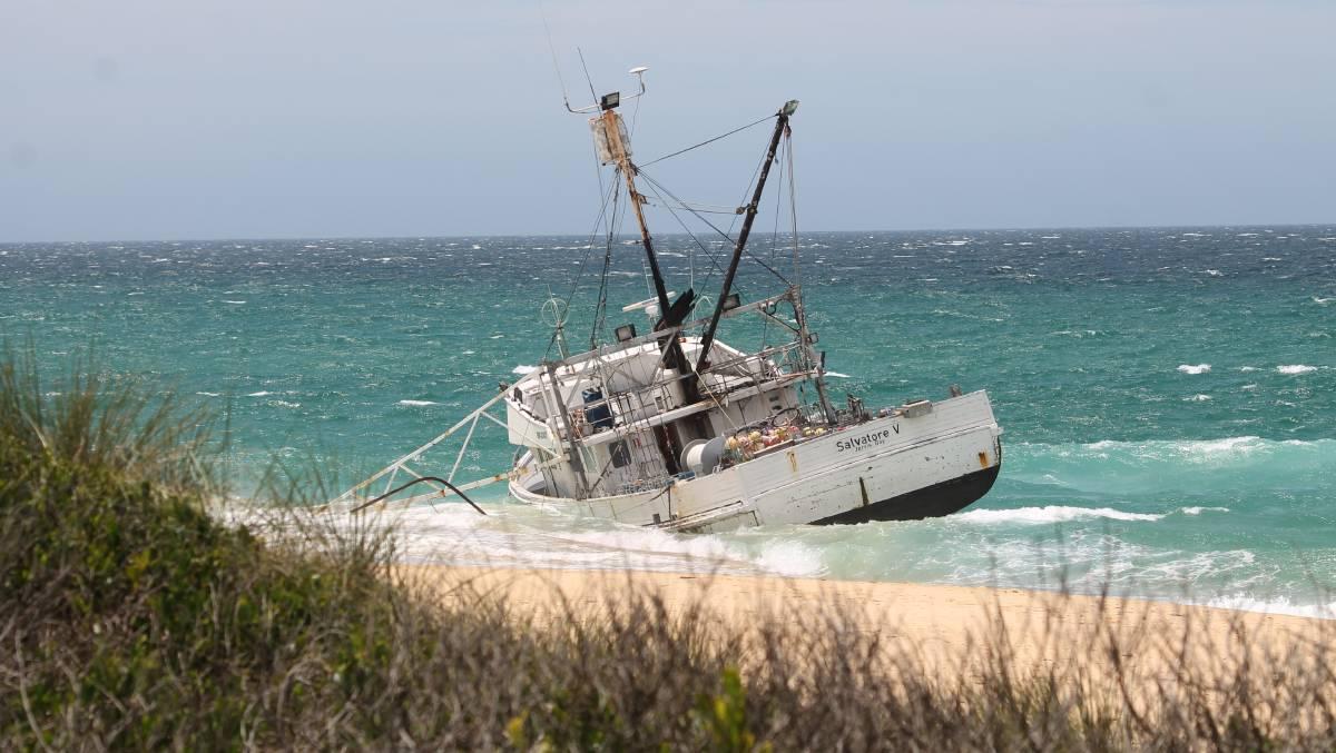 The fishing boat washed ashore at Haywards Beach, just north of Bermagui.