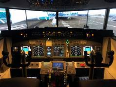 The privately owned virtual Boeing cockpit simulator that will be based at HARS Aviation Museum on November 5 to 7. Picture: Supplied