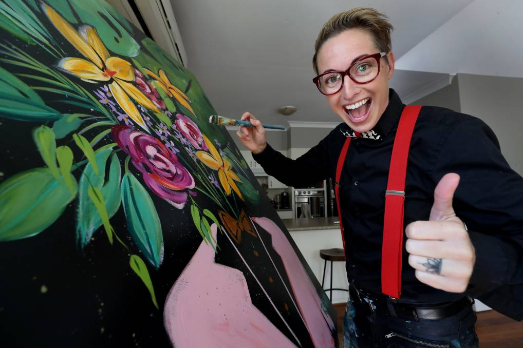 NEVER GIVE UP: Sarah Rowan can't wear skinny jeans because they make her hips hurt, she can no longer run and sometimes has to alter the way she paints because of having rheumatoid arthritis. But the artist is glad to be alive and hasn't given up on her dreams. Picture: Robert Peet