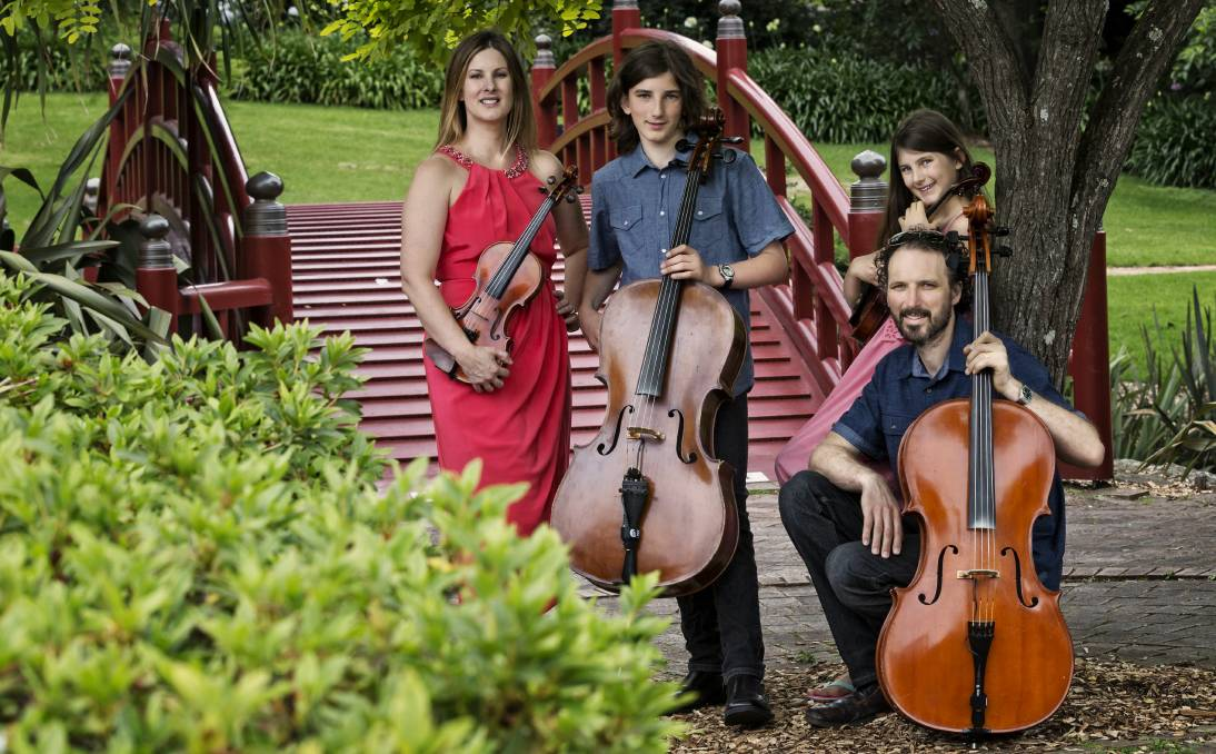 THE STRING FAMILY: Sarah, Heath, Joel and Ashleigh Moir have packed their life into a caravan to perform across the great southern land for a year or more. Picture: Chris Wilkins