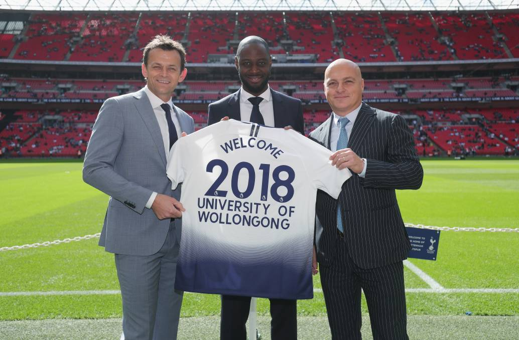 UOW ambassador Adam Gilchrist, Professor Alex Frino and Tottenham ambassador Ledley King and a detailed interview with Alex Frino. Picture: Supplied