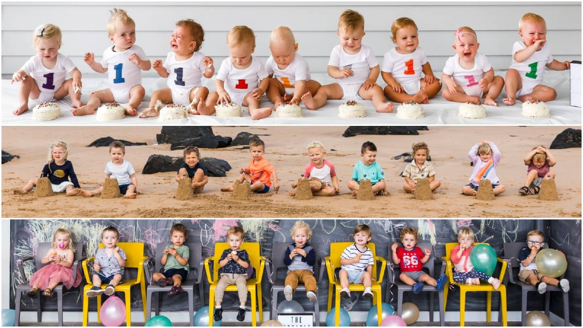 From left to right, Imogen, Digby, Jensen, Isaac, Adam, Jay, Josh, Isabelle and Rixen keep their same photo order for a treasured series of year-on-year captures. Pictures: Anna Warr