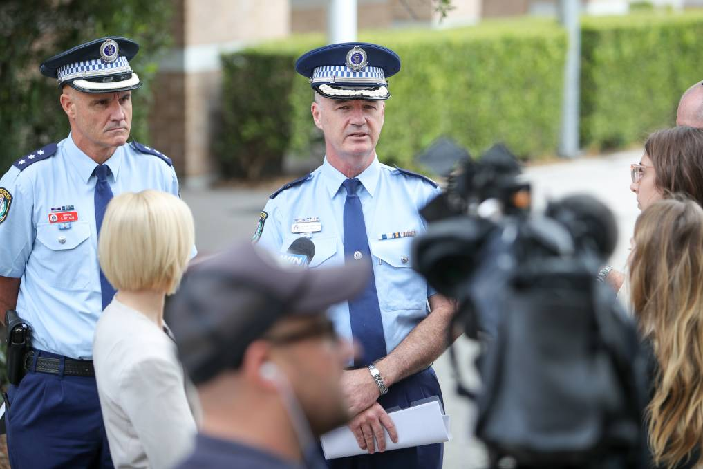 Stay safe: Assistant Commissioner Peter Barrie (cente) with Inspector Scott Nelson at a briefing for last week's Operation Chrome road safety crackdown. Picture: Adam McLean