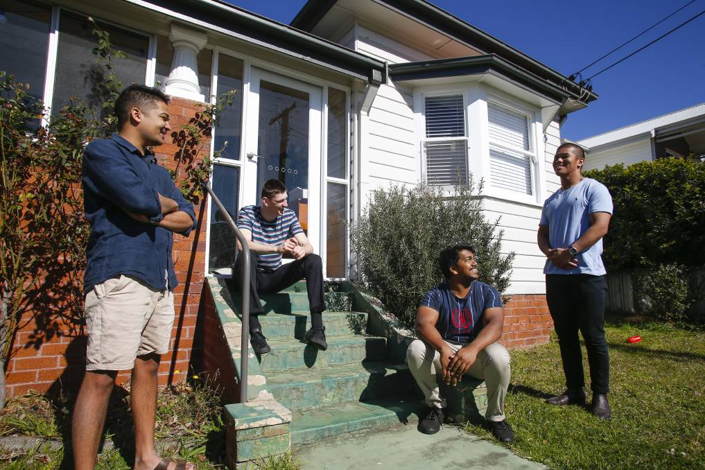 Changes: Gwynneville housemates Ketan Panat (left), Tim Wall, Sahil Kapoor and Wangchuk Tshoko appear in a new ABC TV series debuting on Tuesday night. Picture: Anna Warr