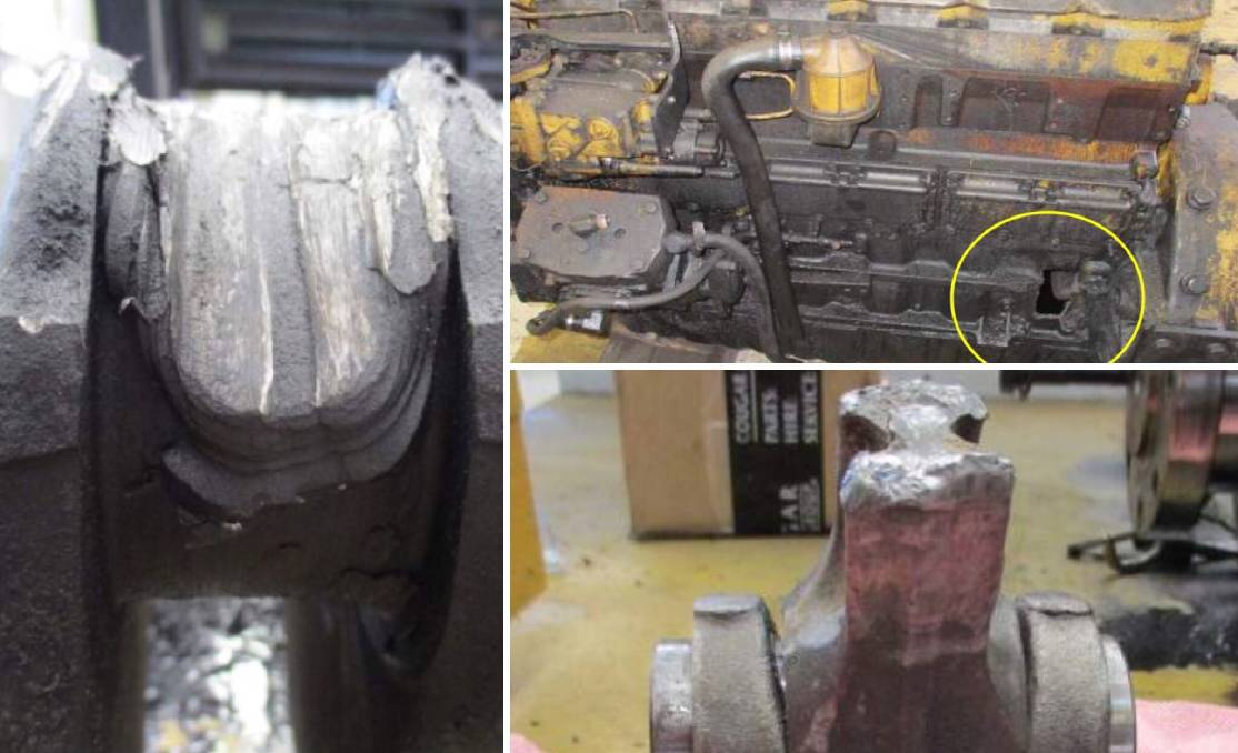 Melted: Some of the damaged parts of the engine as pictured in the investigation report. Picture: NSW RESOURCES REGULATOR.