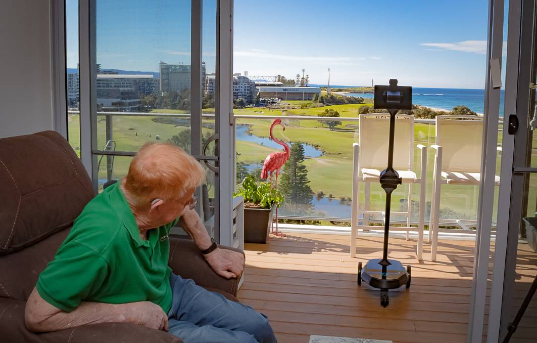 TELEPRESENCE: IRT Links Seaside Wollongong resident David Robson has hosted the robot, which he has fondly named Bluey, since late August.