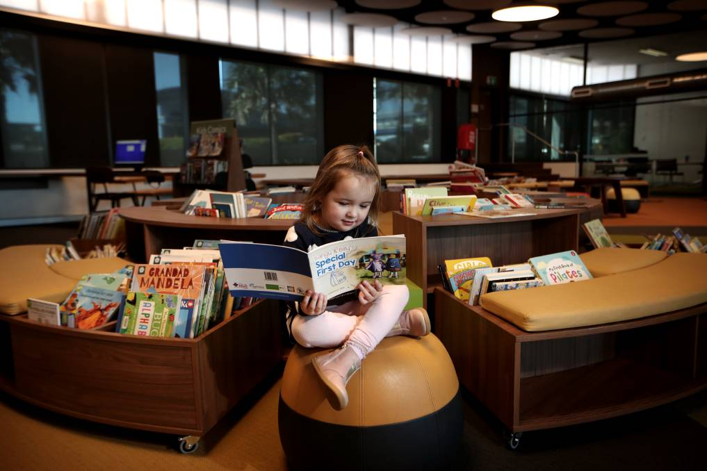 CHILDREN'S BOOK: Evelyn Mitchell reading Special First Day at Shellharbour City Library on Friday. Picture: Sylvia Liber