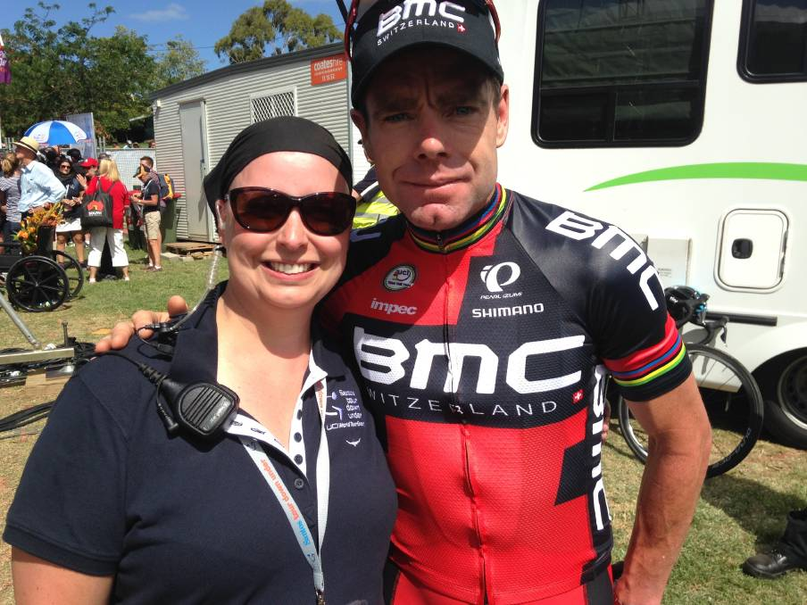 NEW ROLE: Sally Heading (pictured with Cadel Evans) has been appointed head of event services and operations for the Wollongong event.