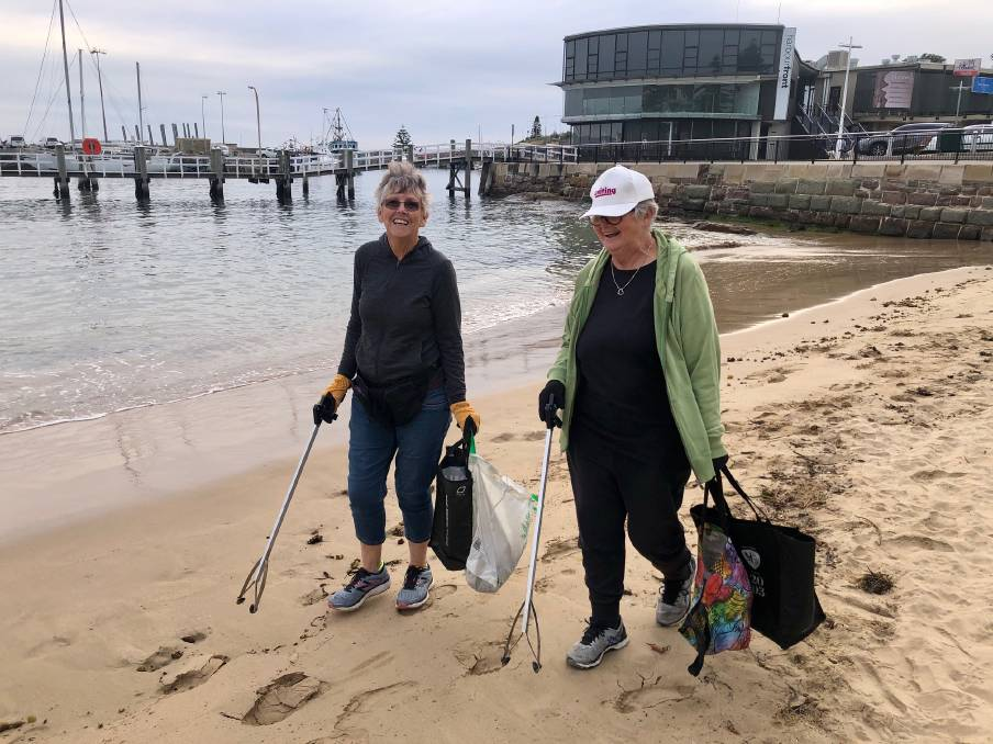 Litter ladies: Julia Tracey and Elizabeth Honeysett on one of their three hour morning clean up rituals along the Wollongong foreshore: Picture: Jeremy Lasek.