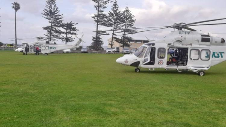 The rescue helicopter at Woonona Beach.