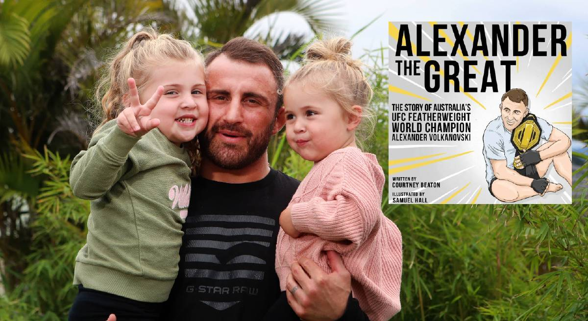 Alex Volkanovski with Ariana and Airlie in April and, inset, the cover of his new children's book. Main picture: Sylvia Liber