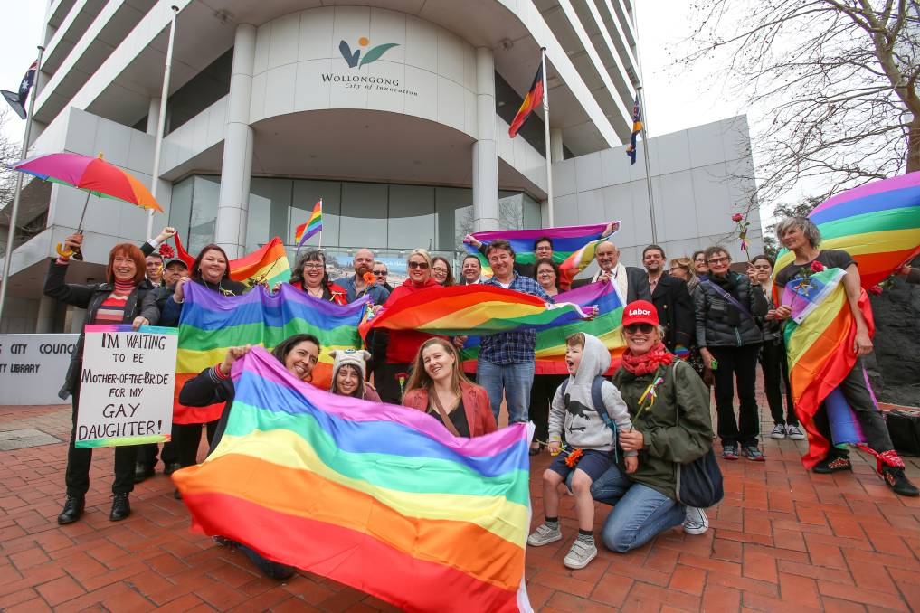 A group of politicians and supporters met outside the council's Burelli Street headquarters back in August, in a push to hoist the rainbow flag outside the city building. Photo: Adam McLean