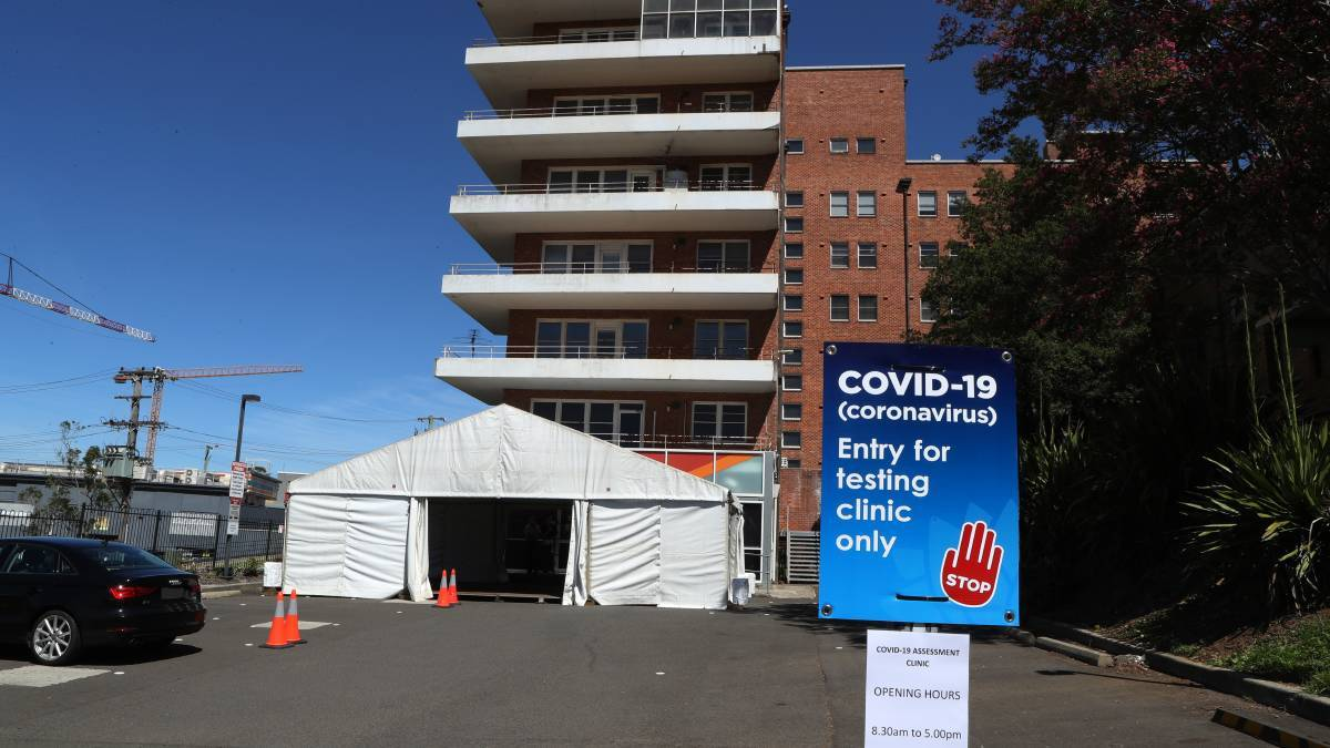 The entrance area to the Covid 19 testing clinic at Wollongong Hospital on March 18, 2020. Picture: Robert Peet