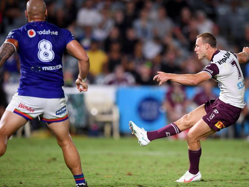Daly Cherry-Evans' field goal secured Manly's first win of the NRL season against the Warriors.