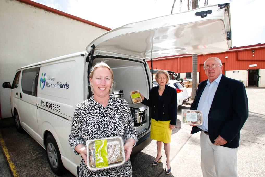 Food delivery volunteers wanted: Sarah Callaway, Jeannie Lyall and Kevin Collison with the new refrigerated Meals on Wheels van. Picture: Anna Warr