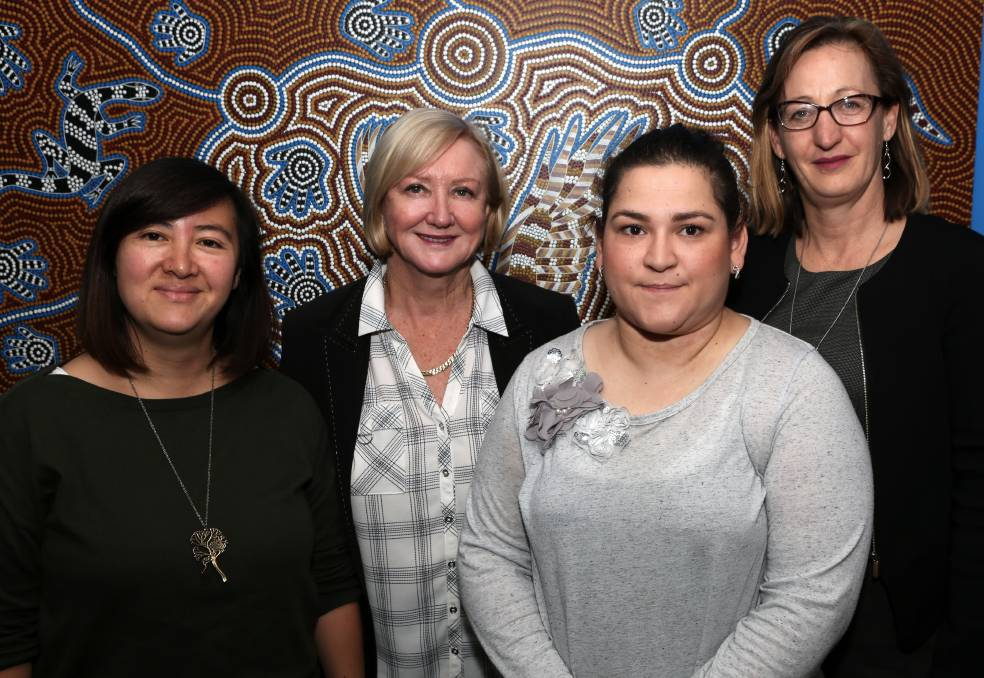 Helping mums with post natal despression: Grand Pacific Health's Rebecca Sng, International Women's Day Committee deputy chair Janine Cullen, mum Kali Hurrell and Big Fat Smile chief executive Jenni Hutchins. Picture: Greg Ellis.