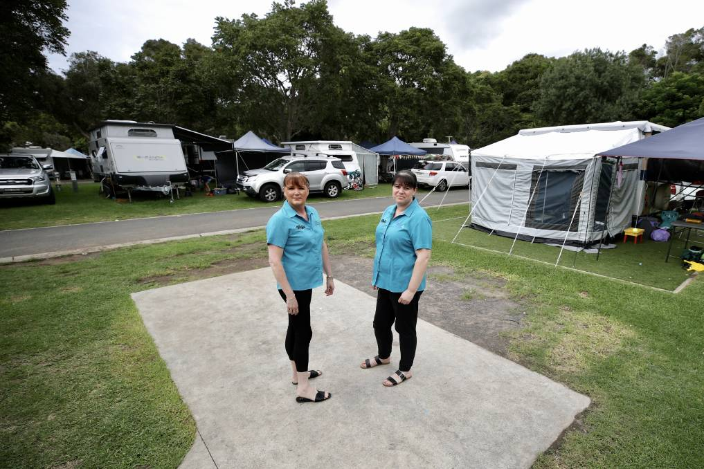 COVID tourism impact: BIG4 Easts Beach Holiday Park office manager Marianne Conway and director Jenny Drummond on one of the sites vacated by Victorian visitors on New Year's Day. Picture: Adam McLean.