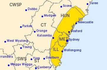 Severe thunderstorm warning area in yellow.